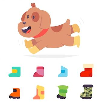 Chien bottes icônes plats. jeu de dessin animé de chaussures pour animaux de compagnie isolé sur fond blanc. illustration de personnage chiot drôle.