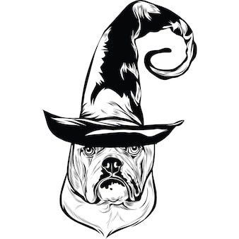 Chien bouledogue anglais en chapeau de sorcière pour halloween