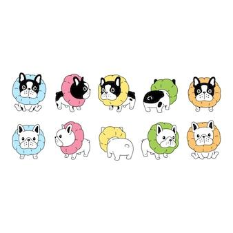 Chien bouledogue français collier animal de compagnie dessin animé