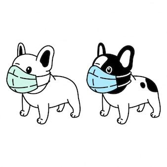 Chien bouledogue français masque visage covid-19 coronavirus cartoon illustration