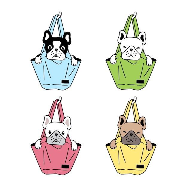 Chien bouledogue français sac shopping personnage de dessin animé