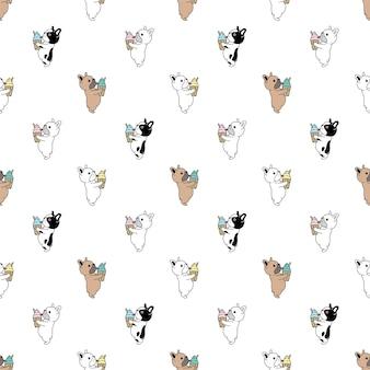 Chien bouledogue français sans couture crème glacée chiot animal de compagnie race
