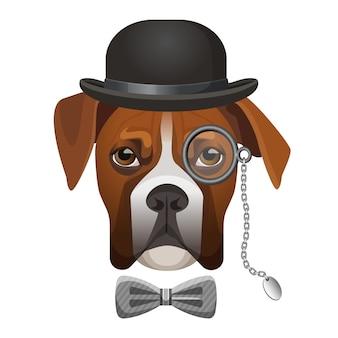 Chien boxer en chapeau melon, arc et verre loupe sur illustration vectorielle de portrait d'oeil isolé sur blanc. détective chien-renifleur de personnage de dessin animé