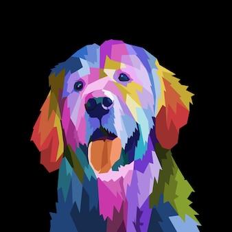 Chien braque de weimar coloré sur illustration vectorielle de style pop art