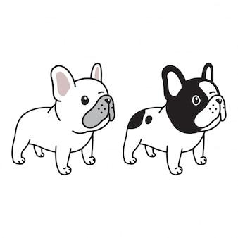 Chien bulldog français dessin animé personnage doodle