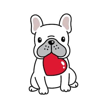 Chien bulldog français saint valentin coeur dessin animé