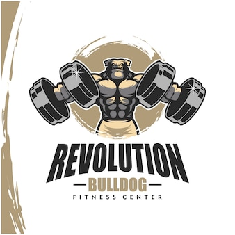 Chien bulldog k9 avec un corps solide, un club de fitness ou un logo de gym.