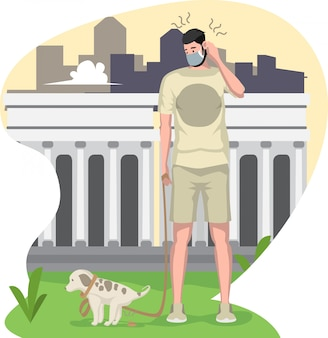 Un chien caca en marchant avec son propriétaire à l'extérieur