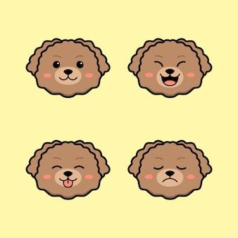 Chien caniche jouet mignon avec ensemble d'animaux d'expression de visage