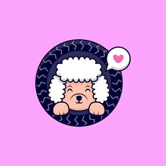 Chien caniche mignon aime jouer à l'illustration de l'icône de dessin animé
