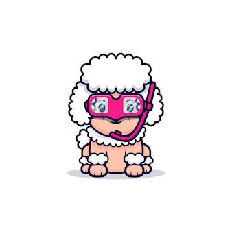 Chien caniche mignon portant des lunettes de natation dessin animé icône illustration