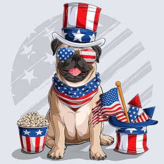 Chien carlin beige mignon assis avec des éléments de la fête de l'indépendance américaine le 4 juillet et le jour du souvenir