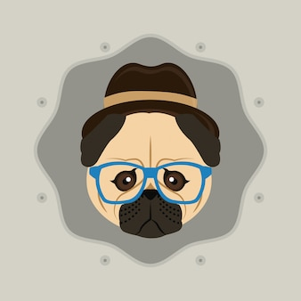 Chien carlin style hipster