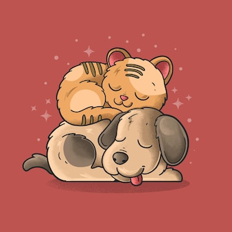 Chien et chat amitié pour toujours illustration grunge