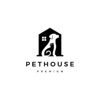Chien chat animal de compagnie maison logo vectoriel espace négatif