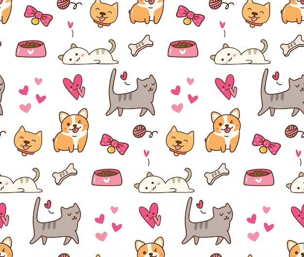 Chien et chat fond kawaii