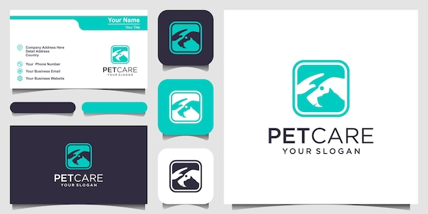 Chien et chat de magasin de soins pour animaux avec modèle vectoriel d'icône de logo de main. création de logo et carte de visite