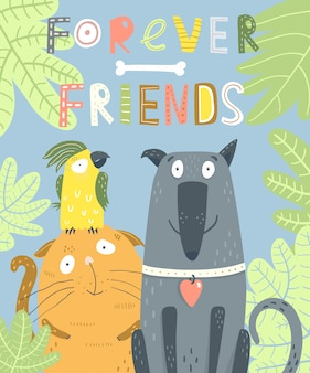 Chien chat perroquet forever friends animal up, fille, idée, liquide, manger, manger, dessin, dessiné à la main, créatif, magazine, 2019,2020, chine, wuhan, alphabet, art, oeuvre, toile de fond, arrière-plan, arrière-plans, insigne, badges bannière, bannières, livret, brochure, cale