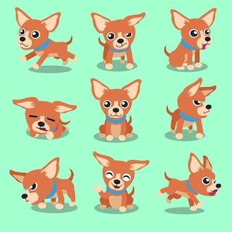 Chien de chihuahua de personnage de dessin animé brun pose