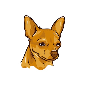 Chien chihuahua - vector logo / icône illustration mascotte