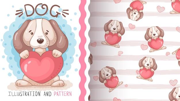 Chien avec coeur - animal de personnage de dessin animé enfantin