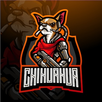 Chien de conception de mascotte de logo esport chihuahua.