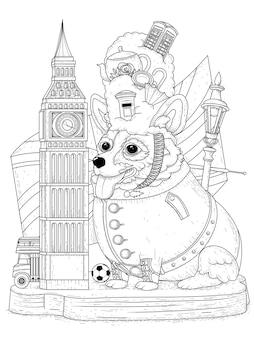 Chien corgi et éléments britanniques pour le tourisme, noir et blanc