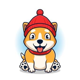 Chien corgi mignon avec chapeau, dessin animé