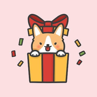 Chien corgi mignon dans une boîte cadeau surprise dessinée à la main de noël