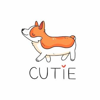 Chien corgi mignon dans un style doodle avec l'inscription cutie vector illustration