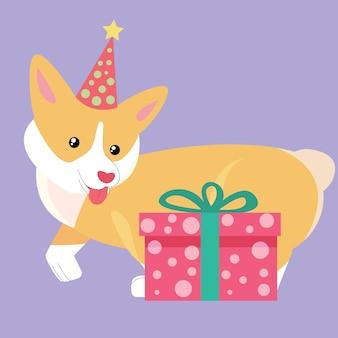Chien corgi noël au chapeau avec cadeau nouvel an animal dessin animé mignon chien heureux stock plat vecteur