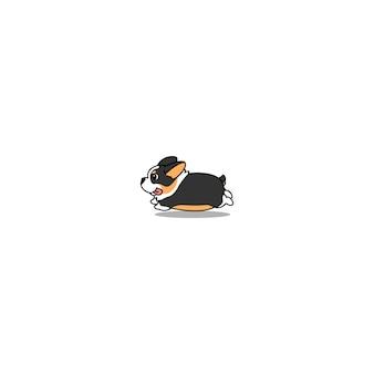 Chien corgi tricolore mignon dessin animé en cours d'exécution