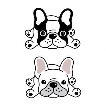 Chien dessin animé animal bulldog français