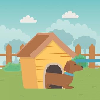 Chien de dessin animé à l'intérieur de la maison en bois