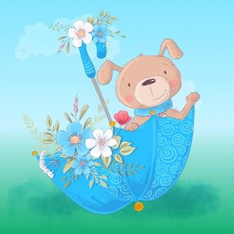Chien de dessin animé mignon dans un parapluie avec des fleurs