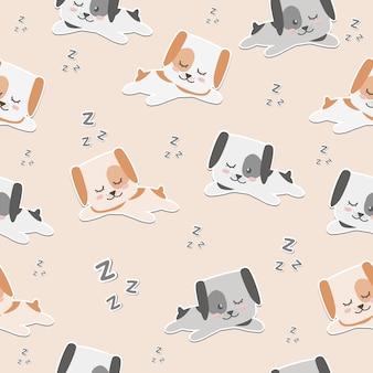 Chien de dessin animé mignon dort papier peint sans soudure