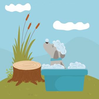 Chien de dessin animé prenant une douche