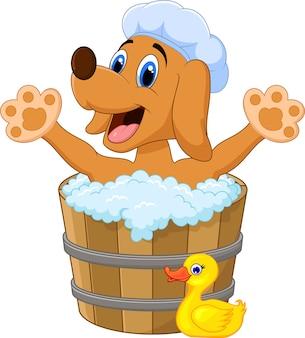 Chien de dessin animé se baignant dans le bain de chien
