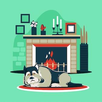Chien, dormir, cheminée
