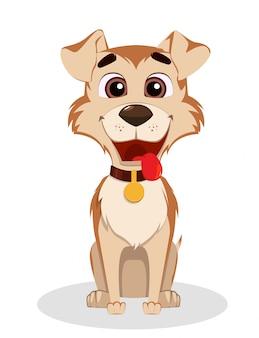 Chien drôle mignon. personnage de dessin animé de chiot.