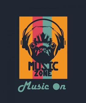 Chien, écoute, vecteur, musique, conception, t-shirt