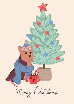 Chien élégant yorkshire terrier sur carte de noël