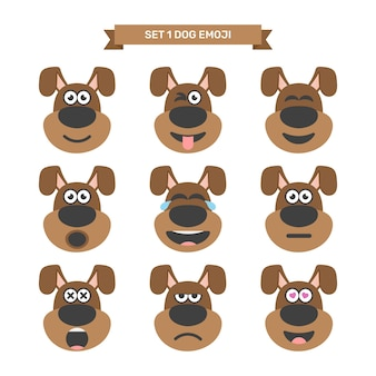 Chien emoji expression set1