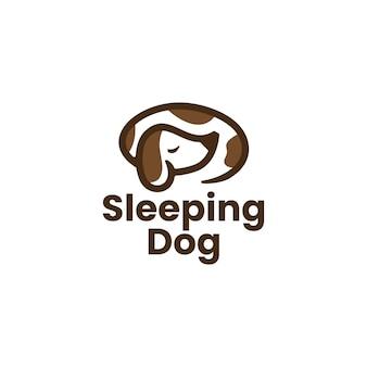 Chien endormi paresseux logo vector icône illustration