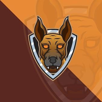 Chien de l'enfer malinois head esport mascot logo pour les jeux esport et le vecteur gratuit premium de sport