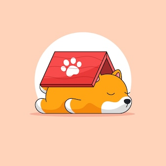Chien fatigué et dormir sous le toit de l'activité animale contour illustration mascotte