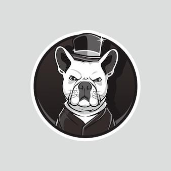 Chien fou porter chapeau et smoking mascotte dessin vectoriel