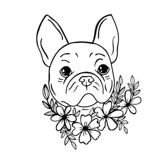 Chien français svg bouledogue svg chien bouledogue français avec impression de chien de fleurs