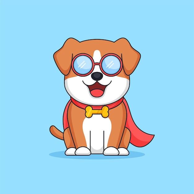 Chien de geek de sourire mignon portant l'illustration de vecteur de dessin animé de mascotte animale de cape de super-héros