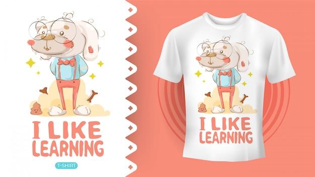 Chien hipster dessinant une idée parfaite pour une chemise